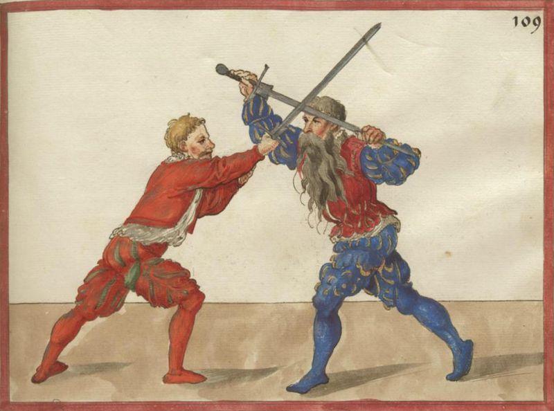 ilustratie - doi luptatori - tehnici de aparare cu spada lunga